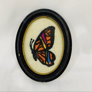 Oval Framed Butterfly Needlepoint